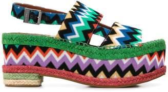 Missoni zigzag print platform sandals