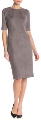 Anne Klein Faux Suede Scuba Sheath Dress
