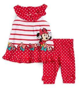 Disney Baby Girls' Polka-Dot Minnie Mouse Tank and Leggings Set