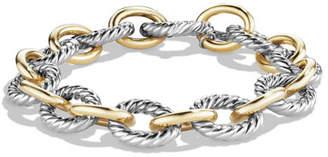 David Yurman Large Oval Link Chain Bracelet, Silver/Gold
