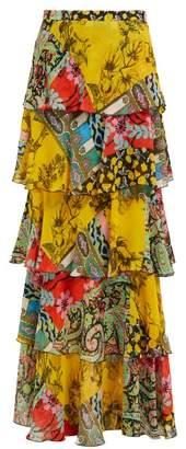 Etro Norfolk Patchwork Tiered Silk Maxi Skirt - Womens - Yellow Multi