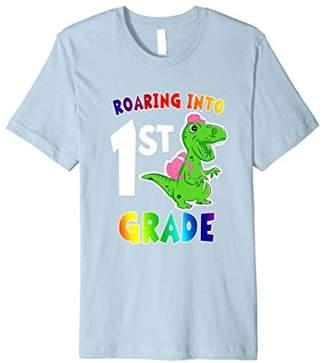 Roaring into 1st Grade T Rex Dinosaur Back to School T Shirt