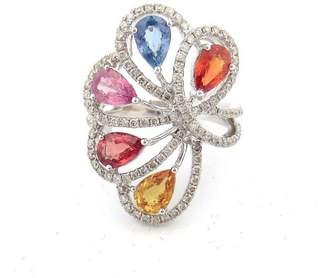 18K White Gold Butterfly Flower Round Pear Diamond, Sapphire, Citrine and Granite Ring Size 6.5