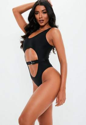 Missguided Black Cut Out Buckle Front Swimsuit