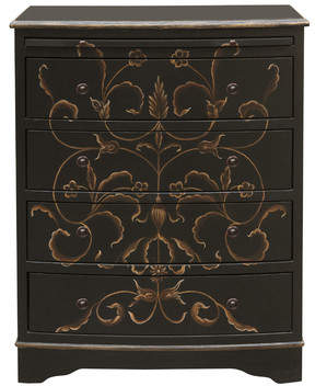 Astoria Grand Beetwood Hand Painted Curved Front 4 Drawer Chest