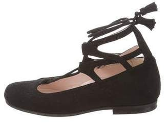 Il Gufo Girls' Suede Lace-Up Ballerina Flats