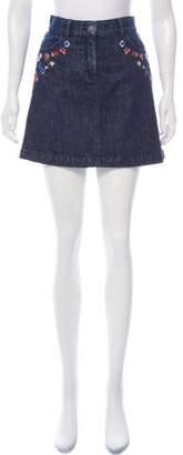The Kooples Embroidered Denim Skirt