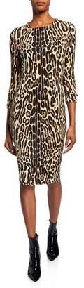 Burberry Leopard Print Stretch Jersey Mini Dress
