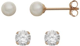 6199e109b Taylor Grace Freshwater Cultured Pearl & Cubic Zirconia 10k Gold Stud  Earring Set