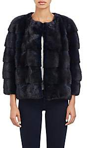 LILLY e VIOLETTA Women's Fur Bomber Jacket - Navy