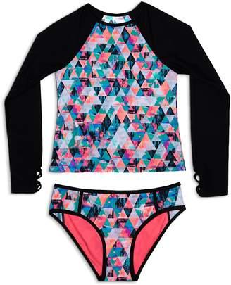 Gossip Girl Girls' Kaleidoscope Rash Guard & Swimsuit Bottoms Set