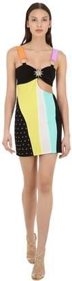 Fausto Puglisi Jersey & Lycra Mini Dress W/ Cut Outs