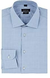 Barneys New York Men's End-On-End Effect Cotton Poplin Shirt - Lt. Blue