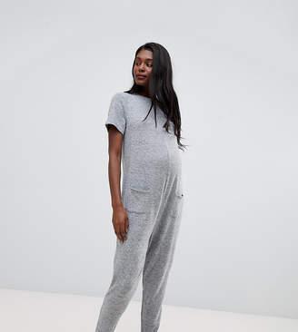 279e9fc9ac64 Asos DESIGN maternity lounge short sleeve super soft touch jumpsuit