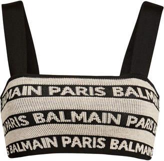 Balmain Logo Knit Bra Top