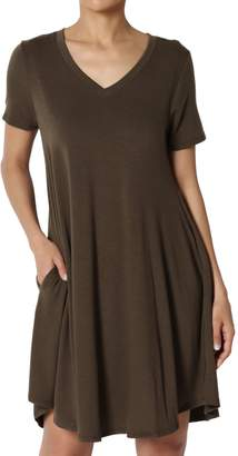 TheMogan Women's V-Neck Short Sleeve Draped Jersey Pocket Tunic Dress XL
