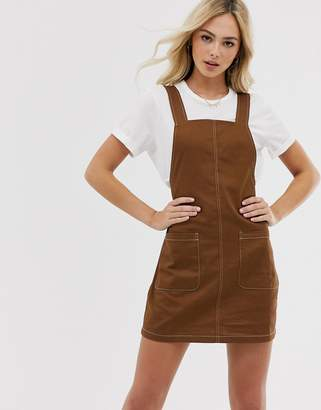 Pieces pinafore mini dress with contrast stitching