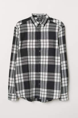 H&M Regular Fit Flannel Shirt - Beige