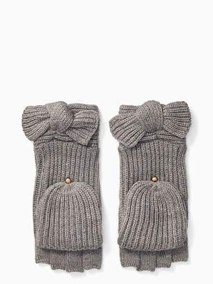 Kate Spade Solid Bow Pop Top Mittens, Black