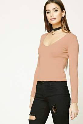 Forever 21 Ribbed V-Neck Top
