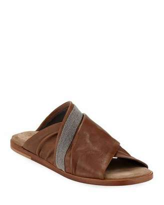 Brunello Cucinelli Leather Crisscross Sandals
