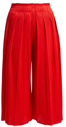 Pleats Please Issey Miyake High Rise Pleated Cropped Culottes - Womens - Red
