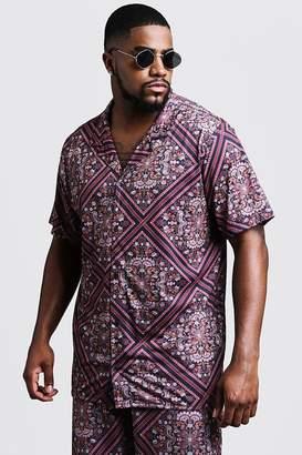 Big & Tall Tile Print Revere Jersey Shirt