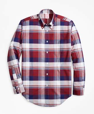 Brooks Brothers Madison Fit Oxford Large Plaid Sport Shirt