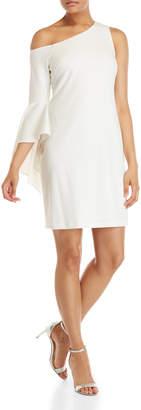 Vince Camuto White Asymmetrical Bell Sleeve Dress