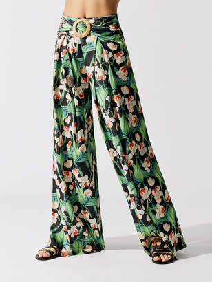 PatBO Floral Belted Wide-Leg Pant