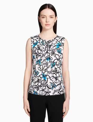 Calvin Klein flower pleat neck top