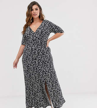 Asos DESIGN Curve button through maxi tea dress with splits in ditsy print