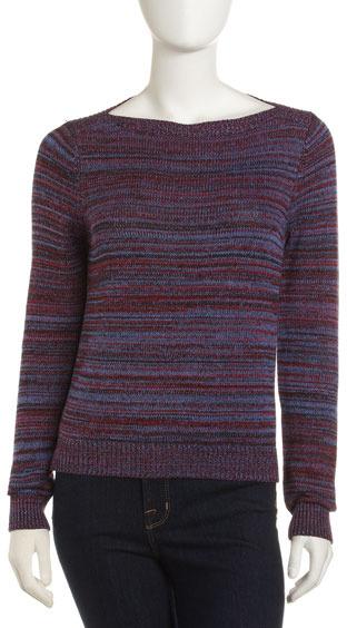 525 America Bateau-Neck Sweater, Blue Moon