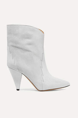 Isabel Marant Leider Suede And Lizard-effect Leather Ankle Boots - Off-white