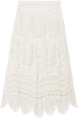 LoveShackFancy Drew Crocheted Lace And Embroidered Voile Midi Skirt - Off-white