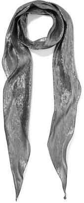 Saint Laurent Silk-blend Lamé Scarf - Silver