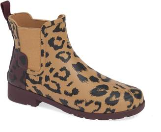 Hunter Leopard Print Refined Chelsea Waterproof Rain Boot
