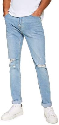 Topman Light Wash Ripped Stretch Skinny Jeans