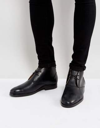 H By Hudson Matteo Leather Desert Boots In Black