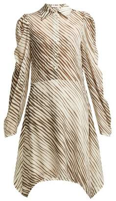 See by Chloe Zebra Striped Mini Shirt Dress - Womens - Brown Multi