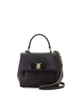 Salvatore Ferragamo Carrie Vara Small Satchel Bag, Nero $1,250 thestylecure.com