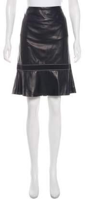 Valentino Knee-Length Leather Skirt blue Knee-Length Leather Skirt