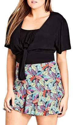City Chic Knot Front Crop Top