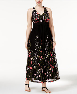 INC International Concepts Plus Size Embroidered Open-Back Maxi Dress, Only at Macy's $159.50 thestylecure.com
