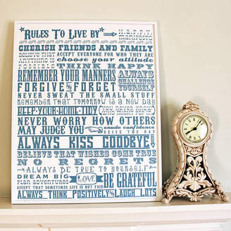 More Than Words 'Rules To Live By' Inspirational Graduation Print