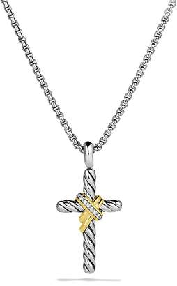 David Yurman X Cross with Diamonds & Gold on Chain