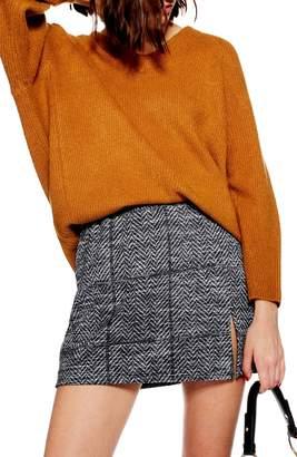Topshop Herringbone Miniskirt