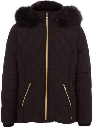 River Island Girls Black faux fur trim padded coat