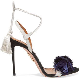 Johanna Ortiz Tasseled Two-tone Suede Sandals - Navy