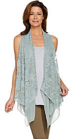 LOGO by Lori Goldstein LOGO Lavish by Lori Goldstein Embroidered DrapeFront Vest